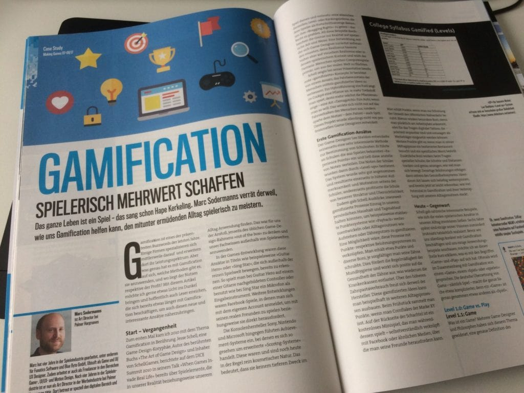 making-games-magazin with gamification article from marc Sodermanns
