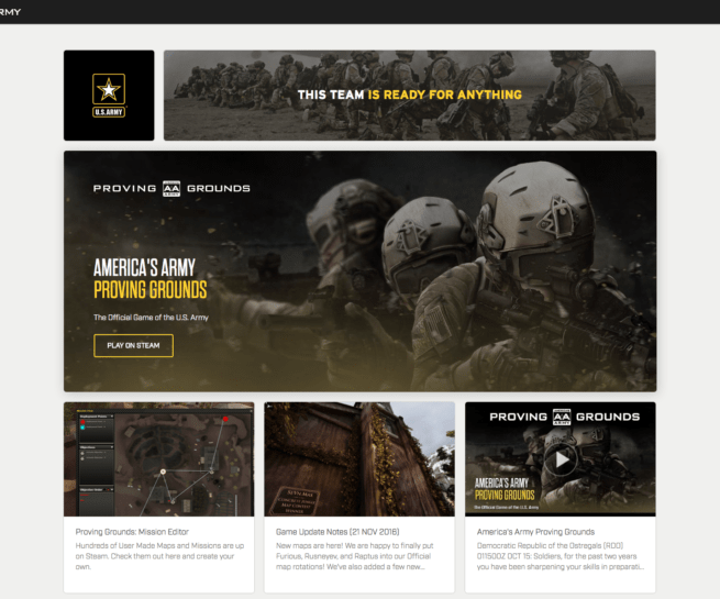 Americas Army website similar to recruitment page