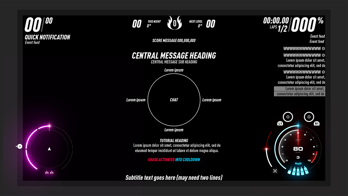 Need for Speed HUD Footprint layout