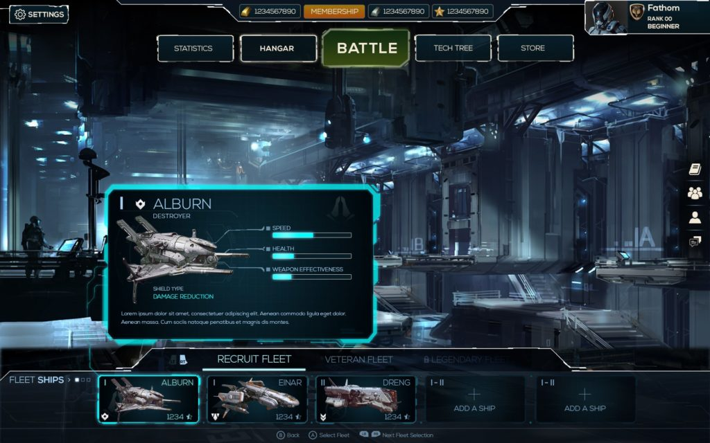 Free work of UI of a spaceship game tooltip
