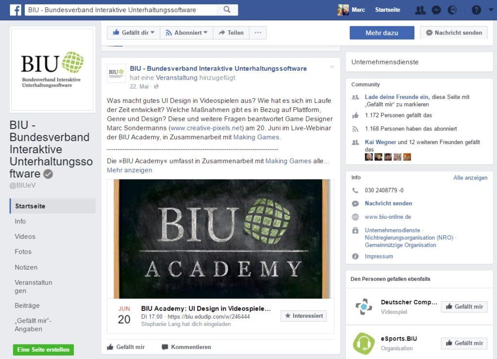 Facebook notification BIU Webinar UI Design in videogames