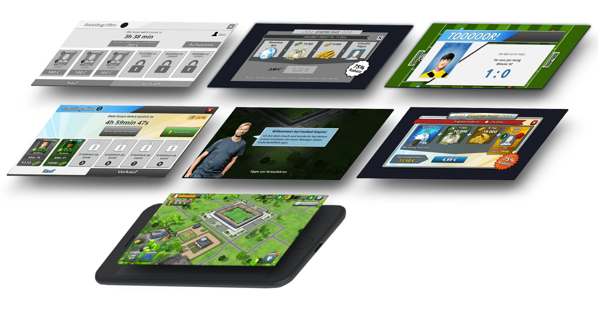 Football Empire Mobile screens