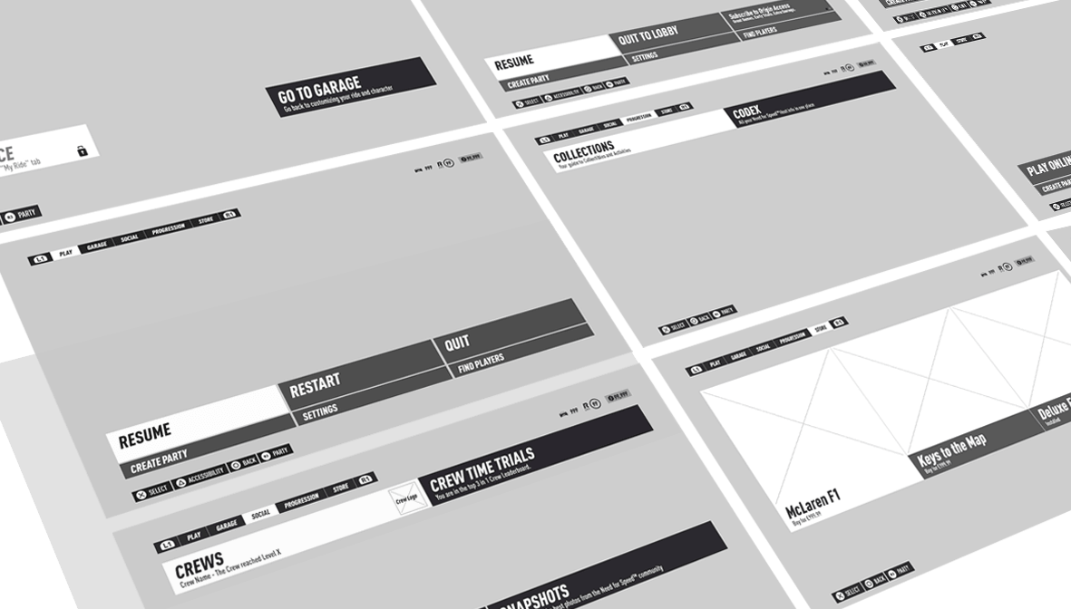 NeedforSpee MainMenu Wireframe creation