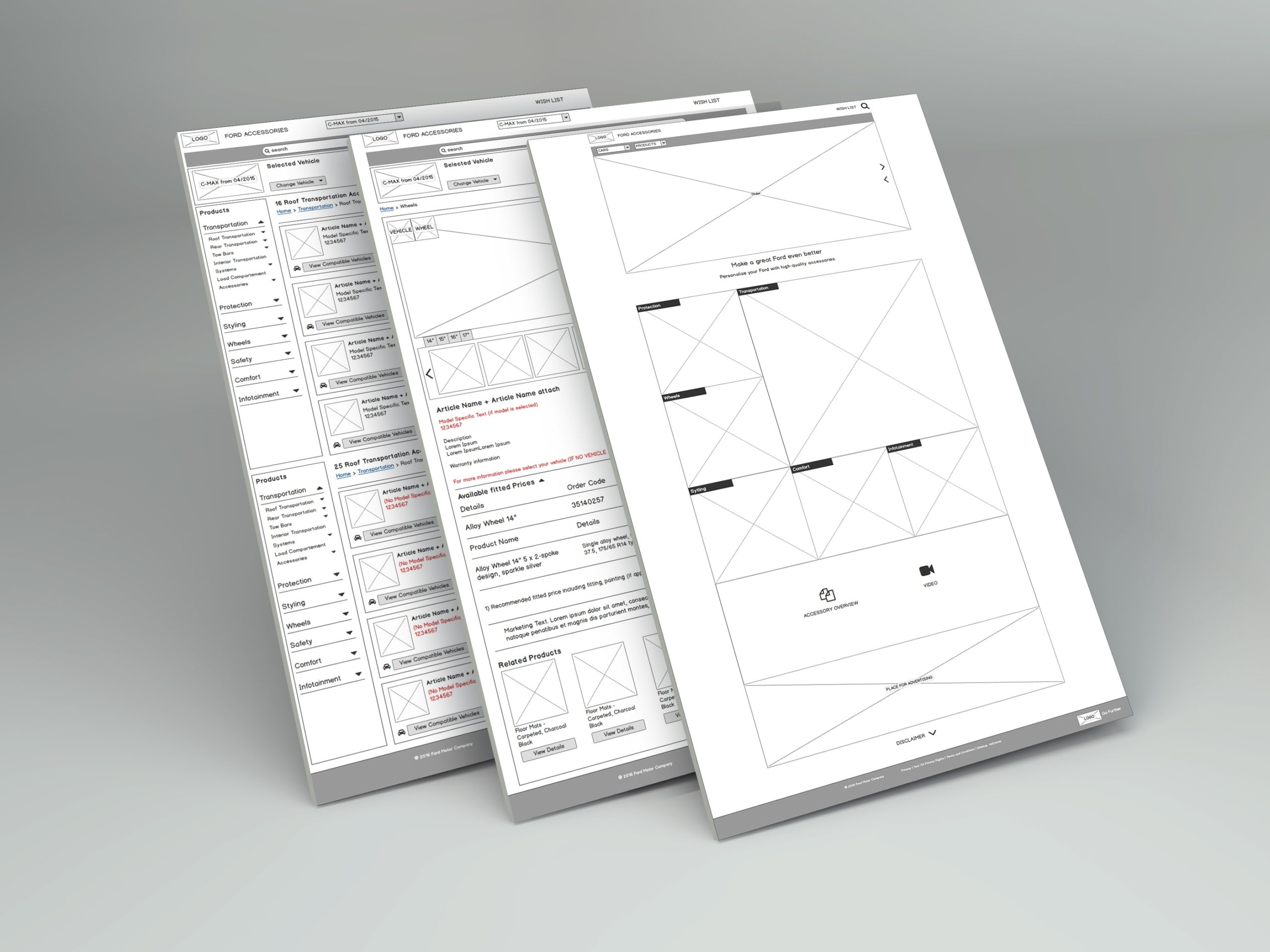 Wireframes Ford online accesory catalogue